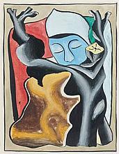 Georges BAUQUIER (1910 - 1997) COMPOSITION AU VISAGE BLEU Gouache sur papier