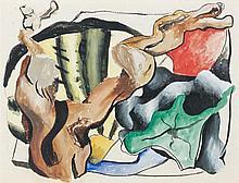 Georges BAUQUIER (1910 - 1997) COMPOSITION A LA GOUSSE D'AIL ET FORME Gouache sur papier