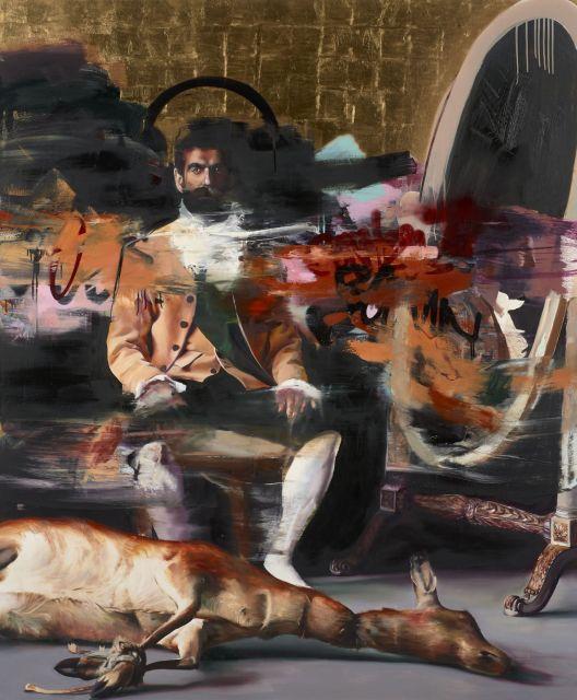 Conor HARRINGTON Né en 1980 THE KILLER INSIDE ME - 2012 Huile, peinture aérosol et feuilles d'or sur toile