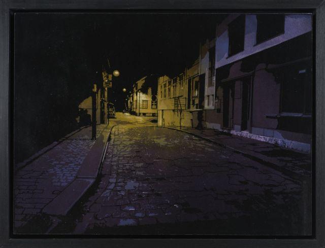 Logan HICKS Né en 1971 SLEEPY PURPLE - 2011 Pochoir et peinture aérosol sur panneau de bois