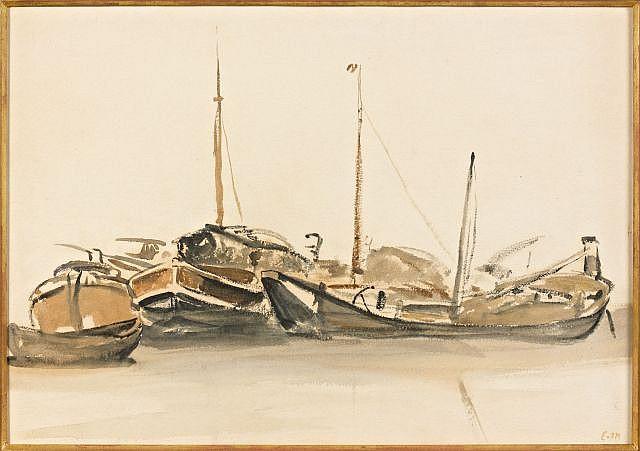 Edouard MANET (Paris, 1832 - Paris, 1883) PENICHES EN SEINE, circa 1874 Aquarelle et lavis d'encre sur papier