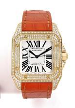 CARTIER SANTOS 100, n° 111733MX/2880, vers 2010 Montre bracelet de dame en or 18K (750). Boîtier carré. Couronne sertie d'un cab...