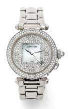 CARTIER PASHA, n° 2402, vers 2000 Belle montre bracelet en or blanc 18K (750). Boîtier rond. Fond saphir. Couronne de remontoir...