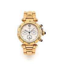 CARTIER PASHA, n° 100338/30009, vers 2000 Chronographe bracelet en or 18K (750). Boîtier rond. Couronne et poussoirs sertis d'un...