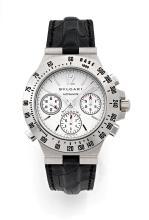 BULGARI RATTRAPANTE, n° 096, vers 2005 Rare chronographe bracelet à rattrapante en or blanc 18K (750). Boîtier rond. Couronne et...