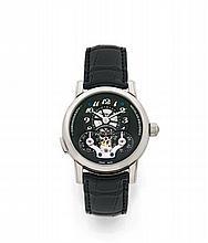 MONT BLANC STAR RIEUSSEC, ANNIVERSARY EDITION, n° 10/90, vers 2012 Rare et beau chronographe bracelet en or blanc 18K (750). Boî...
