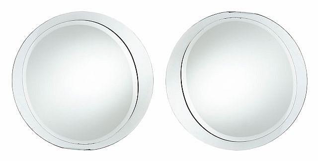 Travail italien paire de miroirs circulaires circa 1960 st for Miroir design italien