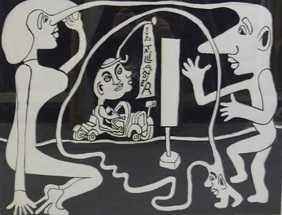 Yvon TAILLANDIER (né en 1926) SANS TITRE Gouache, crayon et collage sur papier