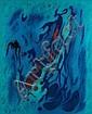 Gustave SINGIER (1909-1984) INTERIEUR BLEU-ANIME, 1971 Huile sur toile, Gustave Singier, Click for value