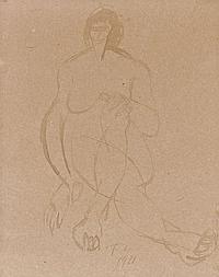 Fernand LÉGER (Argentan,1881-Gyf/ Yvette, 1955) NU ASSIS, 1911 Encre sur papier bistre