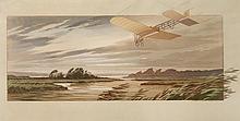 M. CAMPION  Garros en vol à bord de son Blériot XI dans la tempête pendant le grand prix d'Anjou