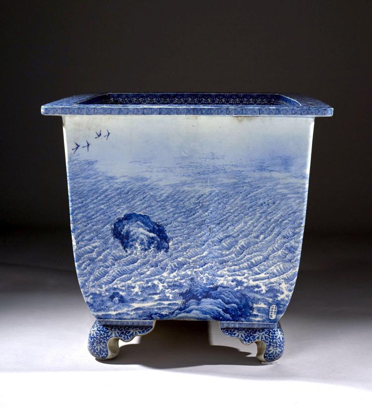 Grande jardini re en porcelaine bleu blanc japon poque me - Jardiniere pvc blanc ...