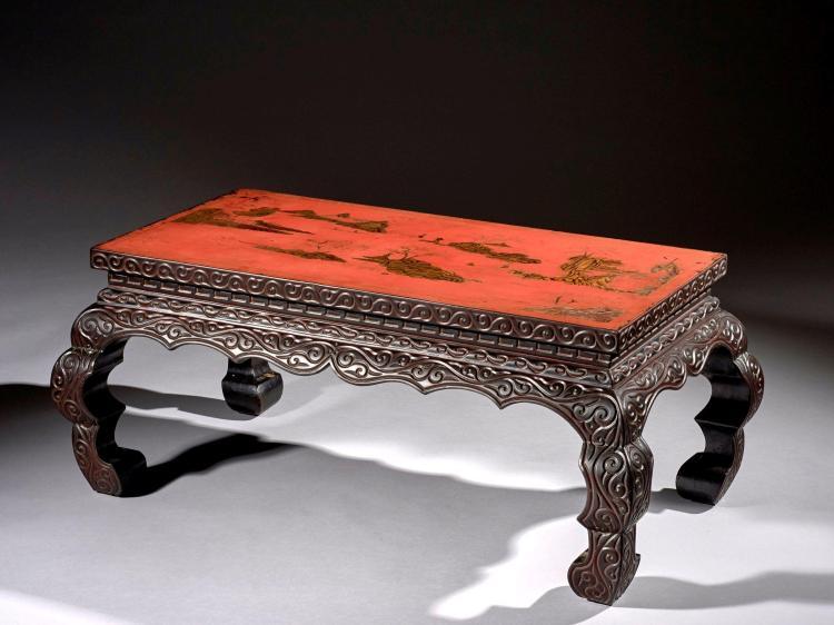Table basse en laque guri et son plateau en laque rouge et o - Table basse laque blanche ...