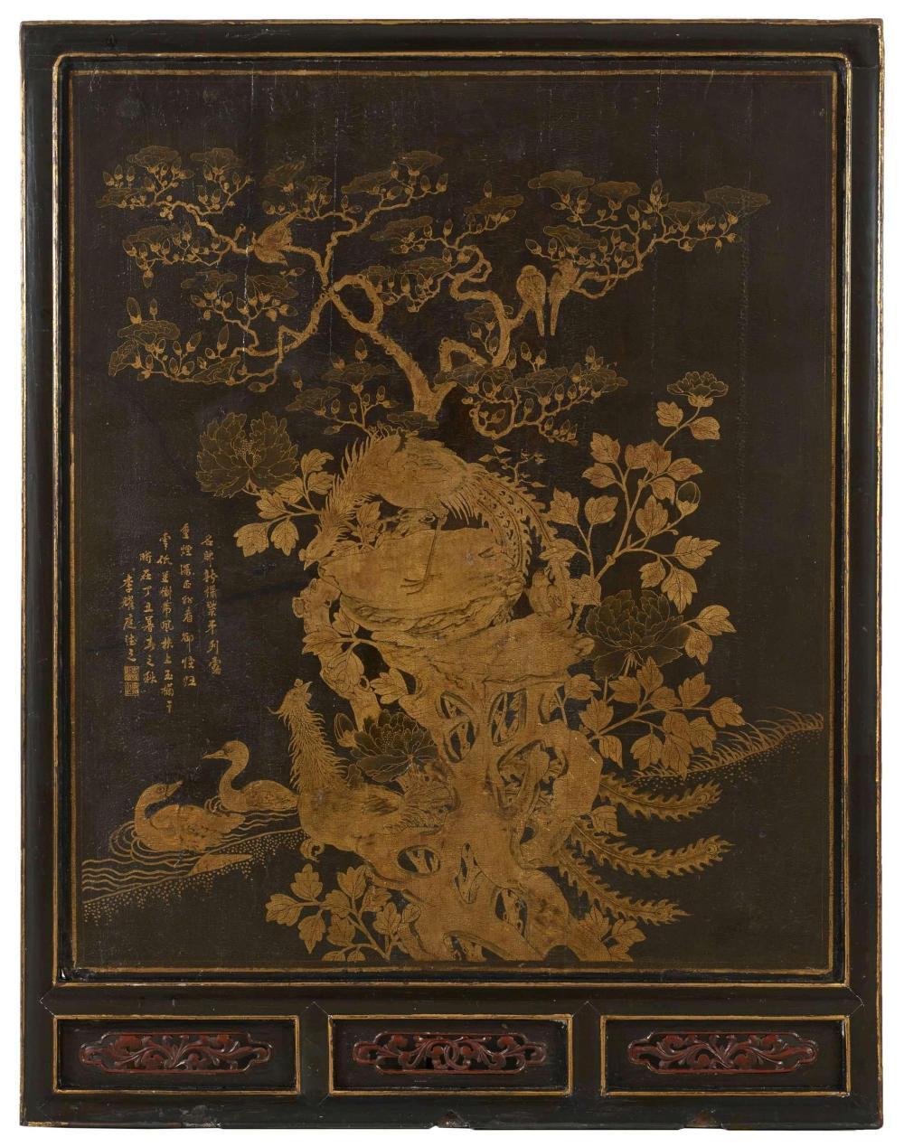 grand panneau en bois laqu noir et or chine canton dynas