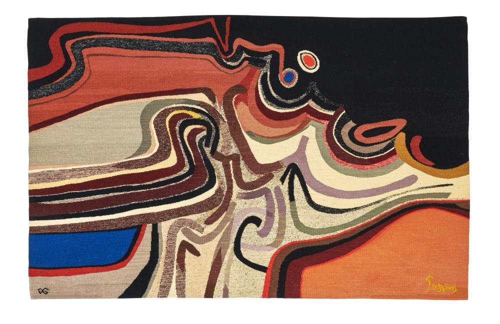 Mario PRASSINOS & Atelier Suzanne GOUBELYMario PRASSINOS & Atelier Suzanne GOUBELY (lissier) (1916-1985) « La lune du matin » - 1974