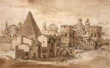 Attribué à Michel Corneille, dit le Jeune Paris, 1642 - 1708 Les murailles de Rome avec la pyramide de Caius Cestius Plume et encre...