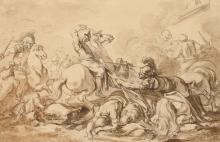 Jacques-Philippe Caresme Paris, 1734 - 1796 Choc de cavalerie au pied d'une muraille Plume et encre noire, lavis brun