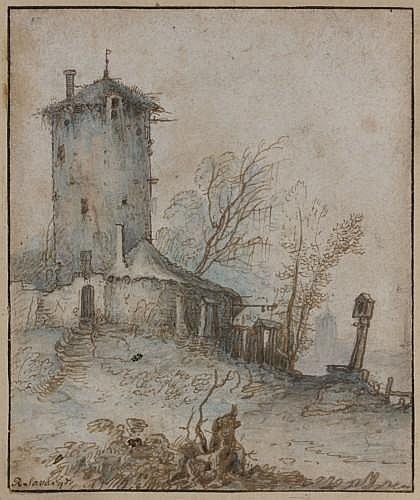 Attribué à Hans Savery Courtrai, 1597 - Utrecht, 1654 Tour dans un paysage Plume et encre brune, lavis indigo,