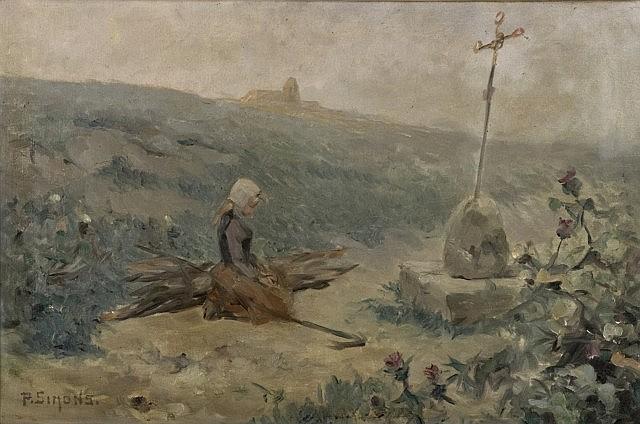 Paul-Henri Simons Marseille, 1865 - 1932 Jeune bretonne priant au retour des champs Huile sur toile