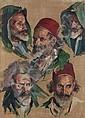Max MOREAU (Soignies, 1902 - Grenade, 1992) Etude de têtes, homme au burnous et au fez Huile sur toile, Max Moreau, Click for value