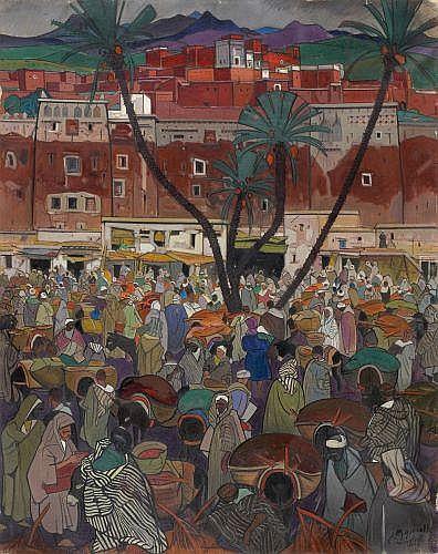 Jacques MAJORELLE (Nancy, 1886 - Paris, 1962) La Kasbah rouge (Freija), 1924 Huile sur toile