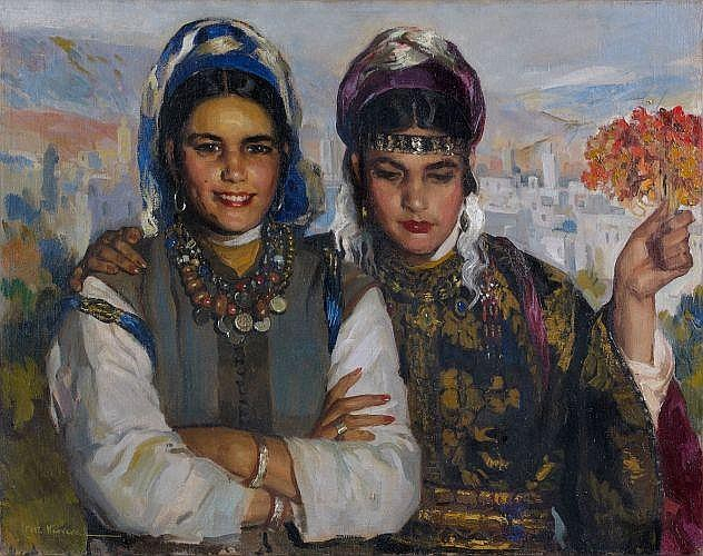 José CRUZ HERRERA (La Linéa, 1890 - Casablanca, 1972) Beautés marocaines Huile sur toile