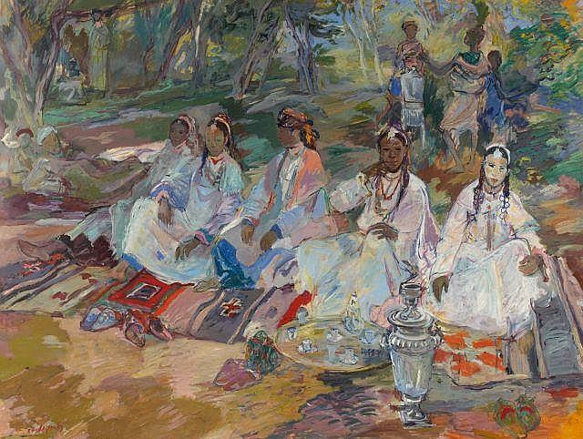 Edouard Léon Louis EDY LEGRAND (Bordeaux, 1892 - Bonnieux, 1970) La Tikka, l'heure du thé Huile sur papier
