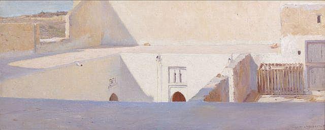 Louis-Auguste GIRARDOT (Loulans-les-Forges, 1856 - Paris, 1933) Terrasses à Tanger, 1887 Huile sur toile