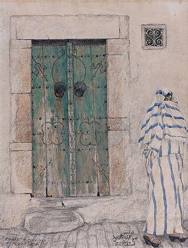 Alexandre ROUBTZOFF (Saint-Pétersbourg, 1884 - Tunis, 1949) Porte cloutée, zaouïa Bakria, 1927 Aquarelle et crayon sur papier