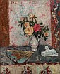 Georges d'ESPAGNAT (Melun, 1870- Paris, 1950) VASE DE ROSES, EVENTAIL ET SPHINX Huile sur toile