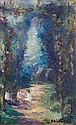 Emmanuel de LA VILLEON (Fougères, 1858- Paris, 1944) L'ALLEE OMBRAGEE Huile sur carton