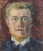 Emmanuel de LA VILLEON (Fougères, 1858- Paris, 1944) AUTOPORTRAIT DE FACE Huile sur toile