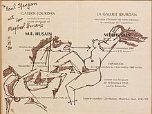 Maqbool Fida HUSAIN (1915-2011) SANS TITRE (FEMME ET CHEVAL) - 1980 Feutre sur carton d'invitation