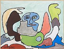 Gaston CHAISSAC (1910-1964) SANS TITRE Gouache sur papier marouflé sur toile