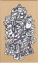 Jean DUBUFFET (1901-1985) COSTUME DE THEATRE III - 1971 Marqueurs de couleur sur Bristol découpé marouflé sur papier kraft