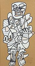 Jean DUBUFFET (1901-1985) PERSONNAGE - 1972 Marqueurs de couleur sur papier découpé marouflé sur papier kraft