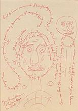 Gaston CHAISSAC (1910-1964) L'HERESIDOGUE EN SABOTS Stylo bille rouge sur papier