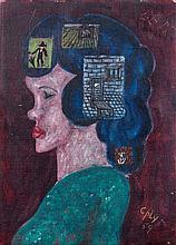 Bill COPLEY (1919-1996) PROFIL - 1959 Huile sur toile agrafée sur panneau