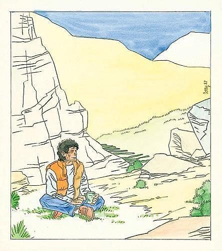 COSEY Bernard Cosandey dit (né en 1950)  JONATHAN Mine de plomb et aquarelle de couleur pour une illustration signée et datée «87»...