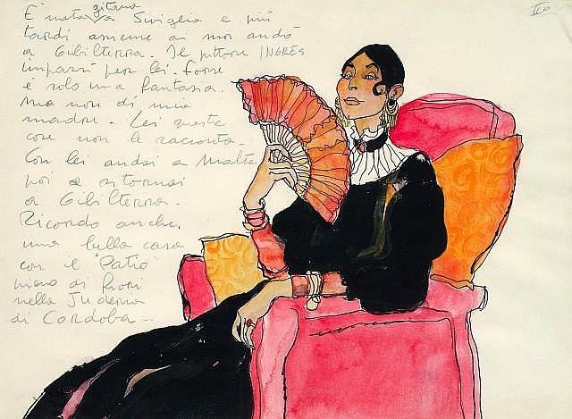 PRATT Hugo (1927-1995)  LA MERE DE CORTO MALTESE Aquarelle de couleur et encre de Chine pour une illustration réalisée vers 1976. 30...