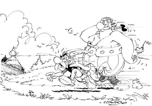 UDERZO Albert (né en 1927)  ASTERIX ET OBELIX Mine de plomb et feutre noir pour une importante illustration réalisée à la fin de...