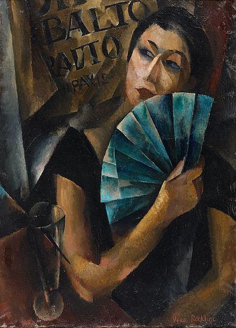 Vera ROCKLINE (Moscou, 1896 - 1938) JEUNE FEMME A L'EVENTAIL BLEU, 1919 Huile sur toile