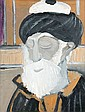 Selim TURAN (1915-1994) PORTRAIT D'UN ULEMA Huile sur panneau de bois