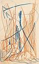 Selim TURAN (1915-1994) COMPOSITION, 1950 Crayons gras de couleurs sur papier