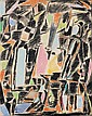 André LANSKOY (1902-1976) COMPOSITION Pastels gras de couleurs et gouache sur papier marouflé sur toile