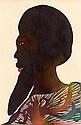 Chris OFILI (né en 1968) TETE D'HOMME DE PROFIL, 1999 Aquarelle sur papier