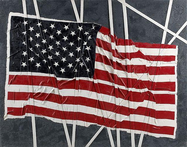 Sophie PETITPAS (née en 1960) STIFFED FLAG, 2004 Technique mixte et collage d'une toile découpée