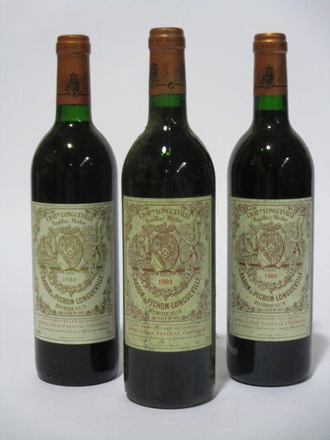 6 bouteilles 1 bt : CHÂTEAU PICHON LONGUEVILLE BARON 1986 2è GC Pauillac (base goulot, étiquette fanée)