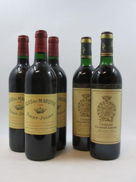 5 bouteilles 3 bts :  CLOS DU MARQUIS 1995 Saint Julien (étiquettes fanées)