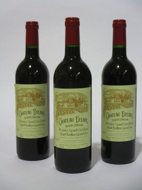 6 bouteilles CHÂTEAU BELAIR 1998 1er GCC (B) Saint Emilion (étiquettes fanées) (cave 6)